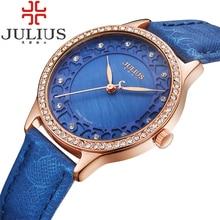 2017 julius marque de luxe montres femmes cristal strass dames montres à quartz bracelet en cuir montre femme reloj mujer cadeau