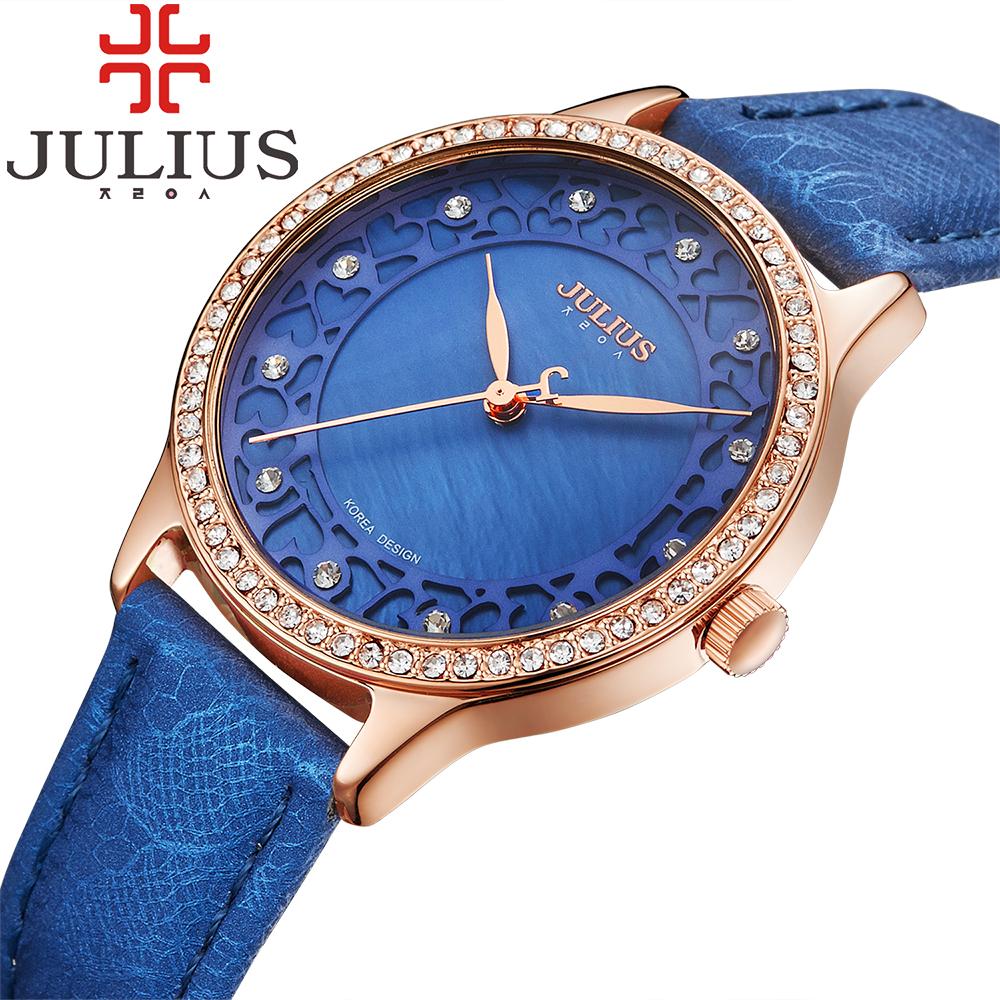 Prix pour 2017 julius marque de luxe montres femmes cristal strass dames montres à quartz bracelet en cuir montre femme reloj mujer cadeau