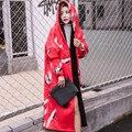 2016 Otoño y El Invierno de La Moda Crane Imprimir Outwear Gruesa con Terciopelo Gabardina Cazadora Con Capucha de Manga Larga de La Vendimia Femenina