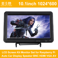 10.1 Inch 1024*600 1080P LCD Screen Kit Monitor Set for Raspberry Pi Auto Car Display Speaker BNC HDMI VGA AV