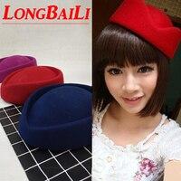LongBaiLi Yün Hostes Bere Kapaklar Kadınlar Kırmızı Hava Hostes Şapka Pillbox Şapka Mavi Mor Ücretsiz Kargo SDDW009