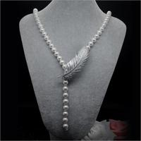 100 Natural Real White Potato Freshwater Pearl Necklace Jewelry 65cm Long Sweater Chain Pearl Necklace Wedding