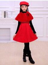Осень и зима новых девушек из трех частей платье красное платье платье Рождество Новый Год платье Принцессы возраст от 3-14 Т