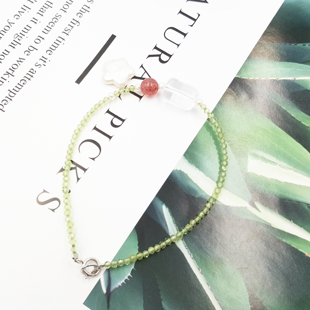 LiiJi Unique Shining Peridots 2mm,Transparent Crystal,Strawberry Quartzs,Real Pearl Flower 925 Sterling Silver Bracelet elegant shining crystal alloy bracelet