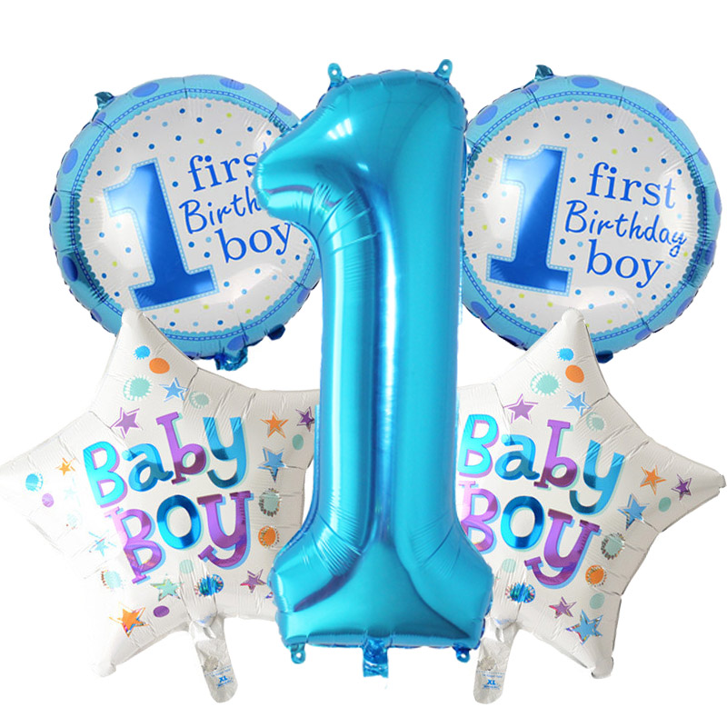 5 pieces pink blue number foil balloons baby 1st birthday for Balloon decoration for 1st birthday party