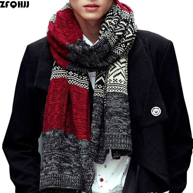 ZFQHJJ bufanda acrílica para hombre 2018 Nueva Corea mujeres hombres Unisex cálido otoño invierno bufandas se adaptan a los amantes que tejen abrigos largos y grandes bufanda