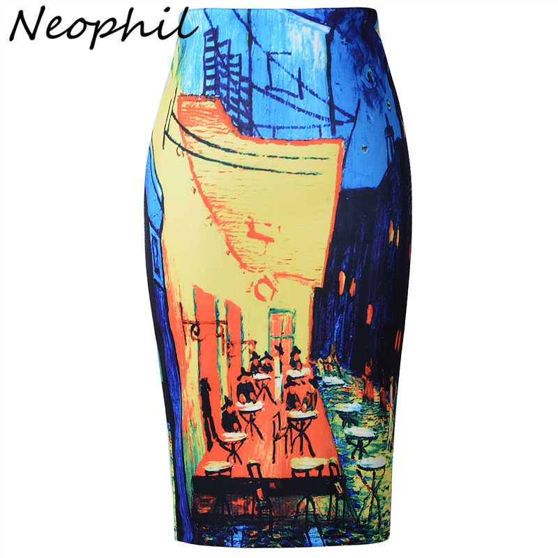 Neophil 2019 Winter Retro Oil Painting Pattern High Waist Ladies Pencil Midi Skirt Print Bodycon Office Work Wear Saias S7016