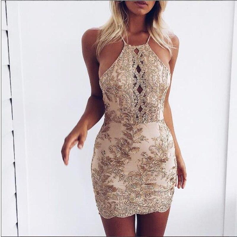 2019 Hot Sale Lace Stitching Sexy Dress Hollow Out Mini Dress Women Bodycon Backless Dress Vestido Halter Corto Free Shipping