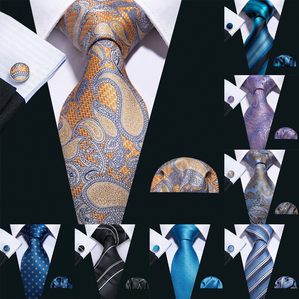 2019 Barry.Wang 20 Colors Paisley 100% Silk Ties For Men Gifts Wedding Necktie Gravata Handkerchief Set Men Business Groom S-20P