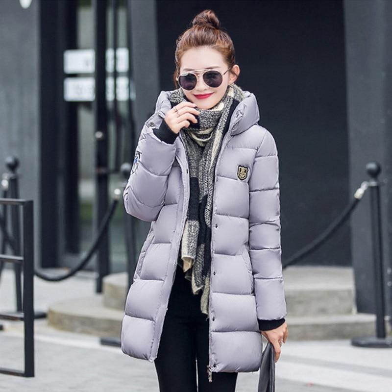 2017 Winter Women's coat Fashion Down Warm Coats  New Arrival Fashion Long sleeve Hooded Jackets Slim Style Casual Parka Coat