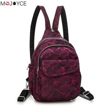 Vintage Satchel Bags Women Waterproof Nylon Backpack Chest Pack Camouflage Casual Big  Zipper Backpack Travel Backpack rucksack