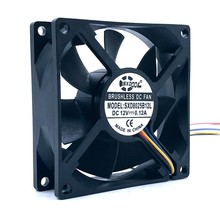 SXDOOL New 80mm 12V Pwm Cooling Fan 4Pin 8cm Dual Ball Bearing 0.12A 3300RPM Silent Quiet,for Computer PC Case