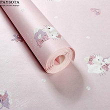 PAYSOTA 3D Hello Kitty Wallpaper Children Room Environmental Protection Sweet Girl Bedroom Cartoon Wall Paper(China (Mainland))