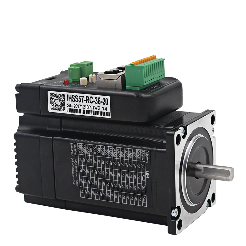 New NEMA 23 Integrated motor have RS485 control and CAN Bus communication encoder 1000 lines 2NM torque makeup close loop system new leadshine close loop system integrated motot iss57 20 a nema 23 motor with1000 encoder