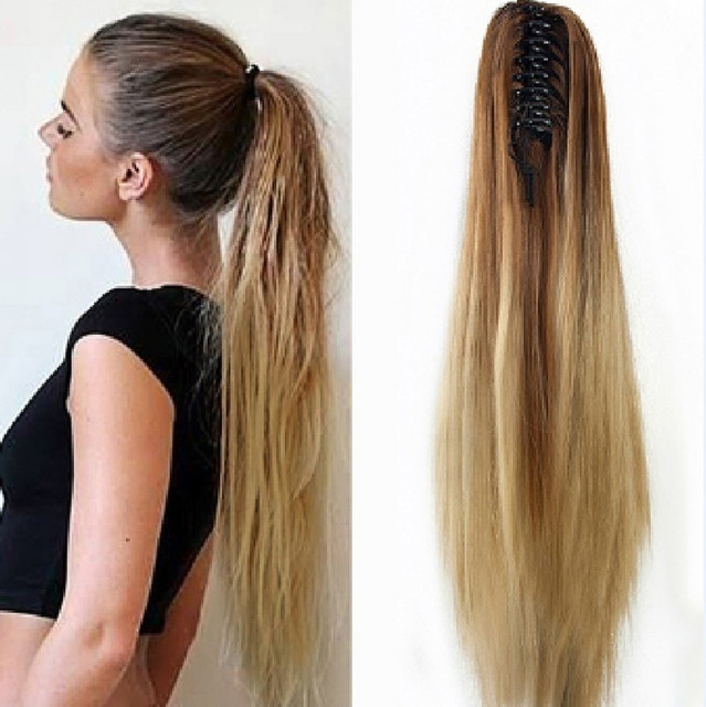Women Fashion Claw Clip Long Straight Ponytail Hair Extensions Wig  Hairpiece Heat Resistant Dip Dye One Piece High Quality 9b2c0dddbb