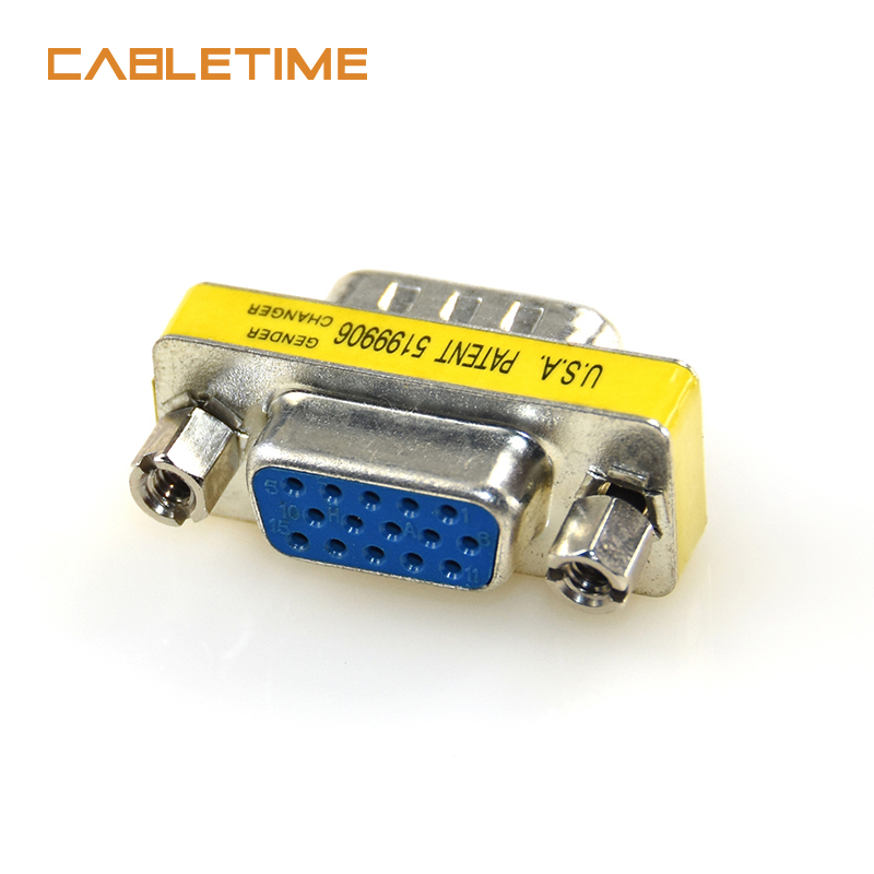 Coupler SVGA Male to Male Mini Gender Changer HD15 VGA Connector Adapter