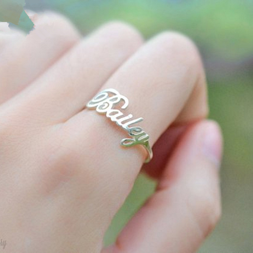 Personalized Font Name Ring Jewelry Stainless Steel Handmade Custom Ring Wedding Gifts Gold Silver Adjustable Anillos Mujer