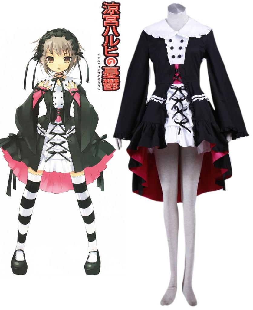 Free Shipping The Melancholy of Haruhi Suzumiya Yuki Nagato Black lolita dress Anime Cosplay Costume