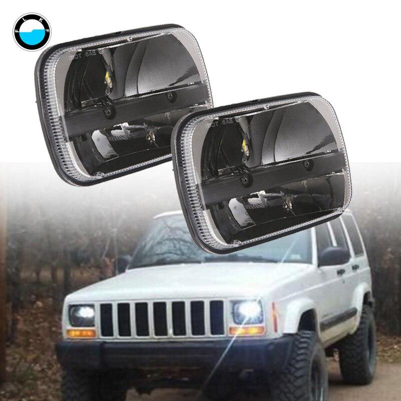 Pair square 7x6''5x7'' LED Projector Headlight Hi-Lo Beam Headlamp For Jeep Cherokee XJ Truck. compatible projector lamp casio yl 35 10294008 xj s31 xj s36