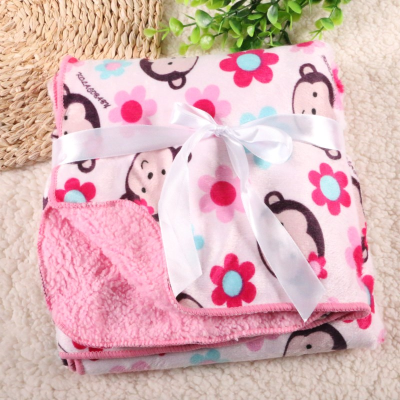 Factory Sales Baby Blanket Thicken Double Layer Fleece Infant Swaddle Baby Swaddle Microfiber Plaid   76*102CM