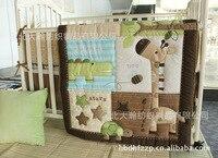 Promotion! 6PCS 130*70cm Cotton Baby Cot Bedding Set Newborn Cartoon Crib Bedding Detachable (bumper+duvet +bed cover)