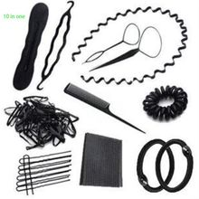 10 In 1 Women Bun Maker DIY Hair Styling Accessories Kit Magic Twister Ties Gum