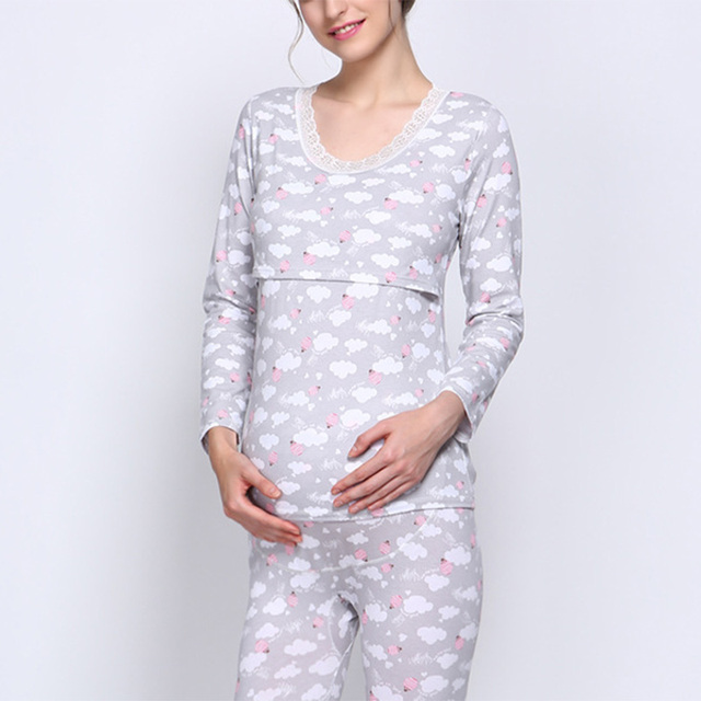 New Breast Feeding Clothes for Pregnant Women Maternity Sleepwear Comfy Printing Nursing Pajamas Sets