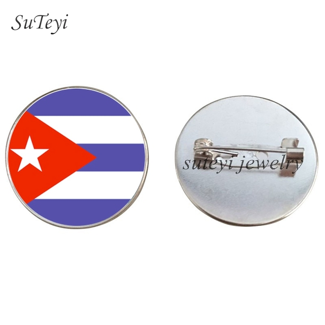 Suteyi Dominican Country/Costa Rica Badges Brooch Country Flag Pattern Lapel Pins Grenada/Cuba Badge Glass Brooches Party Gift by Ali Express