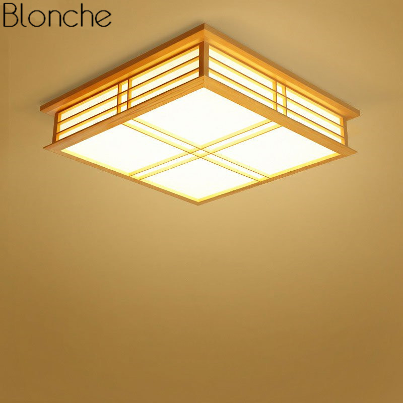 Creative Wood Ceiling Lamp Japanese Style Ceiling Light Fixture for Dining Room Bedroom Luminaire Modern Home Deco Lighting 220V modern japanese tatami wood octagon led ceiling lamp bried chinese home deco living room acrylic yurts ceiling light fixture