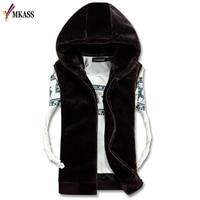 2017 Casual Winter Warm Mens Fur Vest Fashion Hooded Sleeveless Coat For Men Faux Fur Vest