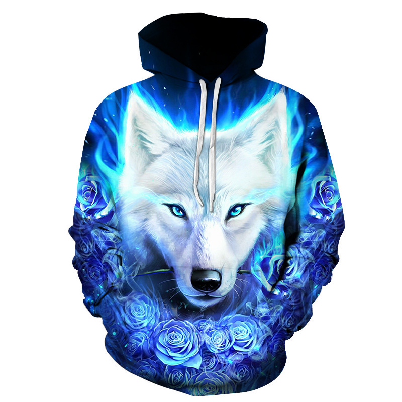 New Wolf Head Hoodie  Men 3D Sweatshirts  Blue Rose  Wolf Head Pullover  Funny Animal Print Hoodies Harajuku Sweatshirt Dropship