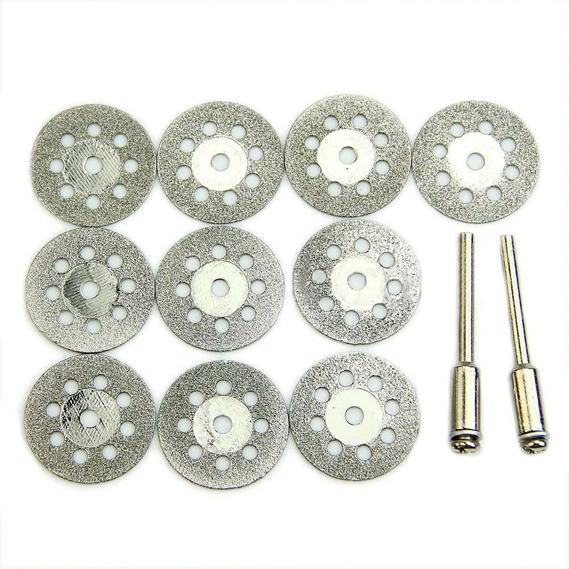 10pcs 22mm Diamond Cutting Disc 8inch Carbon Steel Circular Blades Cutting Wheel Discs +2 Rods Woodworking Metal Cutting Tool