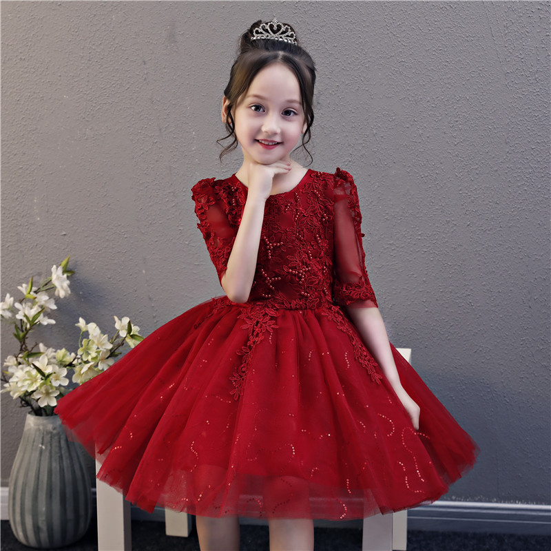 Noble Performance Show Prom   Flower     Girl     Dress   Toddler Princess Baptism   Dress   Kids Beading Half Sleeves Birthday Party Gown