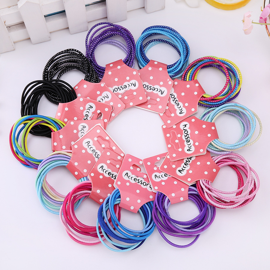 New 50 Pcs Fashion Candy Color Hair Solid Elastic Hair Bands Ponytail Holders Rubber Headbands Headwear Accessories for Girls 4pcs ponytail creator plastic diy hair styling tools black hair bands for girls hair braid accessories bun maker girls headbands