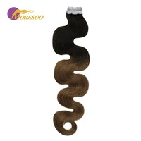 Moresoo Hair Extensions Tape in Human Hair Real Remy Brazilian Hair Body Wave Ombre Color #1B Black Fading to Brown 20PCS/50G
