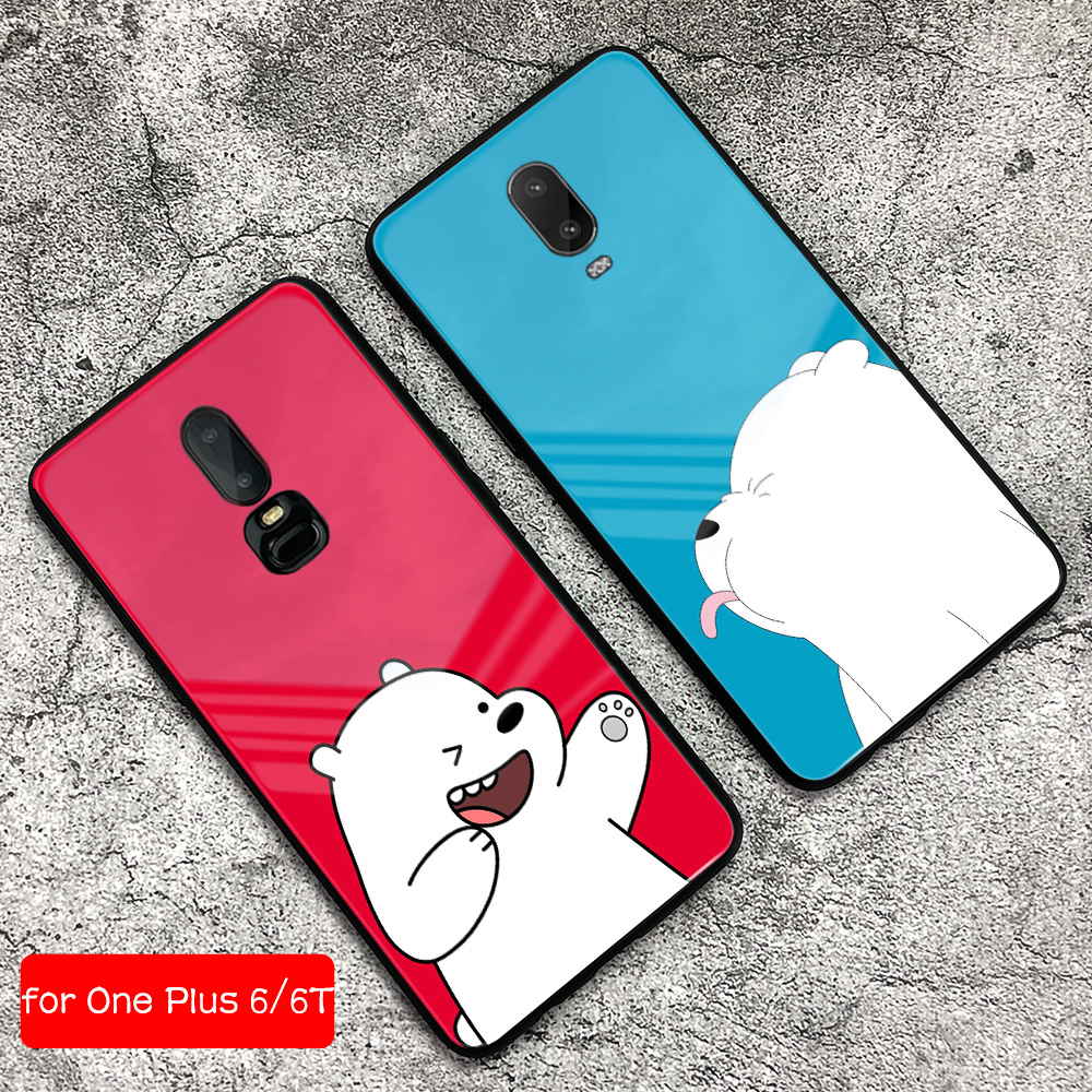 <font><b>Cover</b></font> for OnePlus 6t Case Cute Bear <font><b>One</b></font> <font><b>Plus</b></font> 7t Glass Back 1+6T <font><b>Cover</b></font> <font><b>Phone</b></font> Case Shell for OnePlus 6t <font><b>6</b></font> 7 pro image