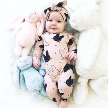 TinyPeople rabbit Infant Baby Rompers 100% Cotton Spring Newborn Boys Girls Clothes Clothing Long Sleeved Jumpsuit