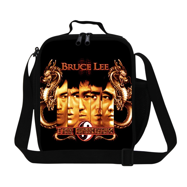 Dispalang fashion Bruce Lee print lunch bags for teens classic famous movie star Lee picnic food bag insulated lunch box storage