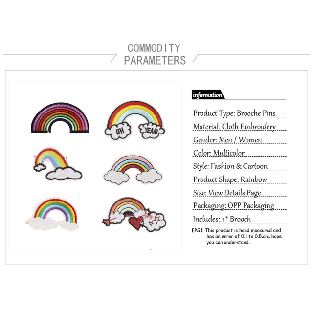 Creative Colorful Rainbow Pin Brooches