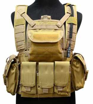 USMC Assault Vest with Water Reservoir (Sand) Tactical Vest Free Shipping - DISCOUNT ITEM  5% OFF Sports & Entertainment