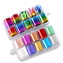 1box Nail Foil set 2.5*100cm Fashion Holographic Colorful Starry Art Transfer Sticker Manicure Decals