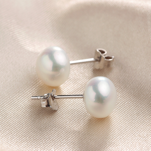 100% Real Natural Freshwater Pearl Stud Earrings For Women 925 Sterling Silver Pearl Jewelry Hot selling Lowest Price 8-9mm