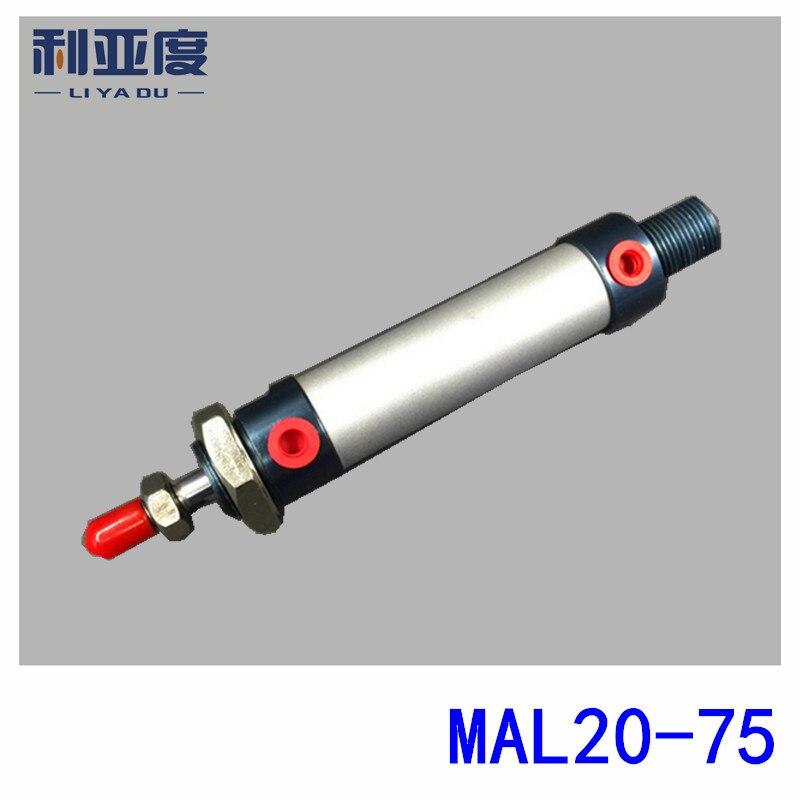 Lega di Alluminio mini cilindro MAL20x75 MAL20-75 componenti Pneumatici 20mm bore 75mm storkeLega di Alluminio mini cilindro MAL20x75 MAL20-75 componenti Pneumatici 20mm bore 75mm storke