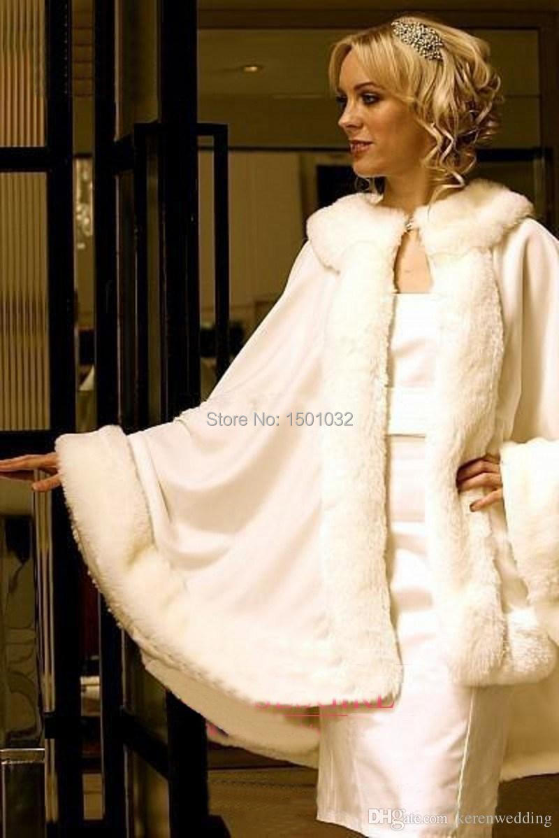 Winter Bridal Capes Ivory Wedding Jackets Faux Fur Perfect For Dress Swing Coat In Stock Wraps Cloak Wrap