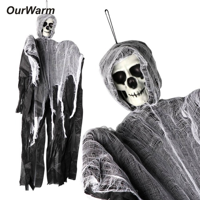 OurWarm 90*60cm Halloween Hanging Ghost Witch Prisoner Grim Reaper Haunted House Escape Horror DIY Halloween Decorations Prop