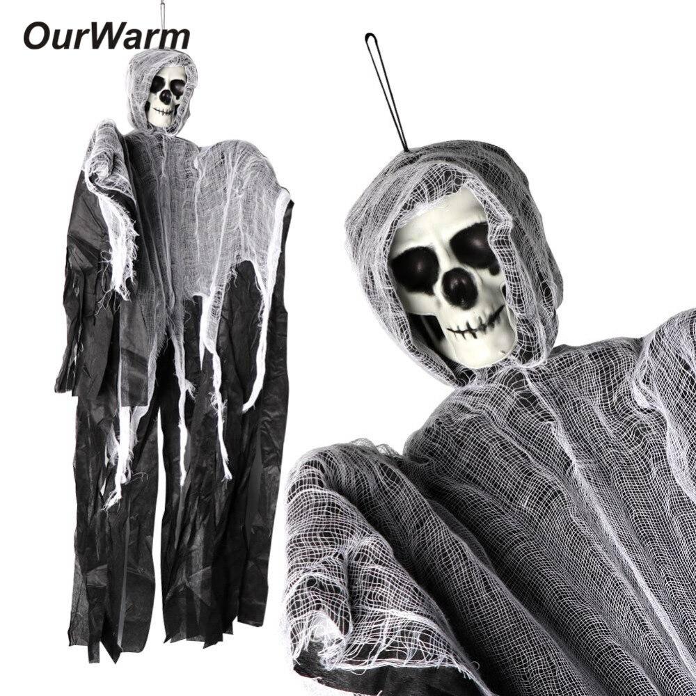 Creepy Skull Mask Hinged Jaw Haunted Prop Grim Reaper Grave Digger Undertaker