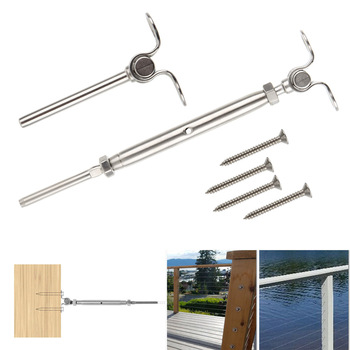 2Pcs/set T316 Stainless Steel Deck Toggle Tensioner Set For 3/16 Cable Railing Door Sills