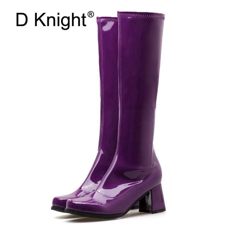 все цены на Women's Knee High Boots Autumn Female Waterproof Rain Boots Size Zip Riding Equestrian Boot Patent Leather Lady High Heels Shoes онлайн