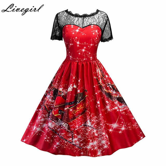 vintage christmas floral print lace dress women short sleeve elegant sexy dresses 1950s robe femme party - Vintage Christmas Dress