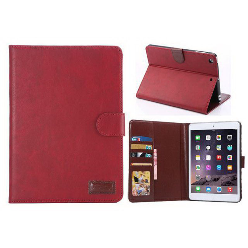 Crazy Horse Leather Flip Smart Cover For Ipad Mini 1/2/3 With Credit Card Pocket Photo Frame PU Leather Case Auto Sleep/Wake